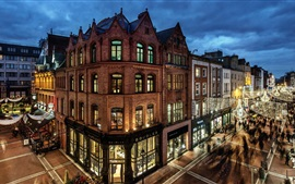 Preview wallpaper Dublin, Ireland, buildings, evening, houses, street, lights