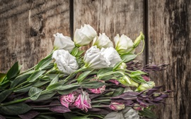 Preview wallpaper Eustoma flowers, bouquet, wood board