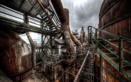 Preview wallpaper Factory, rusty, pipes, cloudy sky
