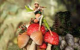 Preview wallpaper Fairy, girl play flute, mushrooms