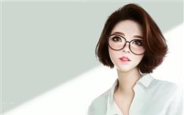壁紙のプレビュー ファンタジーアジアの女の子、メガネ、ショートヘア