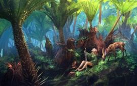 Arte de fantasia, garota, espada, cervo, floresta, verde, pintura