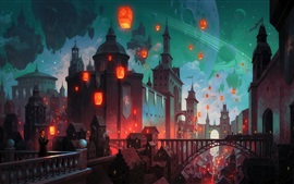 Preview wallpaper Fantasy art painting, castle, bridge, lanterns, buildings, night