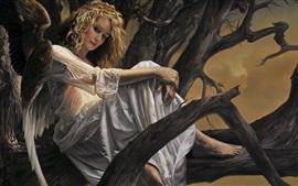 Fantasy blonde girl, angel, wings, tree