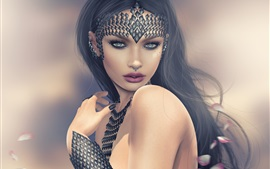 Preview wallpaper Fantasy girl, black hair, decoration