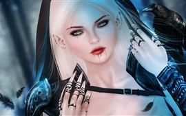 Preview wallpaper Fantasy white hair girl, tear, blood