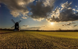 Preview wallpaper Farmland, fields, windmill, clouds, sunset