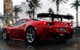 Ferrari 458 Italia red supercar rear view, rain