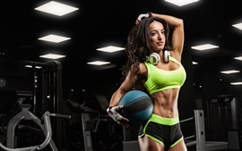 Preview wallpaper Fitness female, girl, ball, headphones