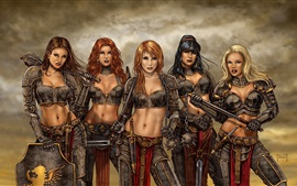 Preview wallpaper Five fantasy girls, warrior, art drawing