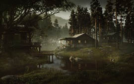 Preview wallpaper Forest, houses, swamp town, water, pollution