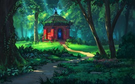 Preview wallpaper Forest, trees, temple, grass, summer, art painting