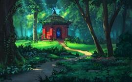Floresta, árvores, templo, grama, verão, pintura artística