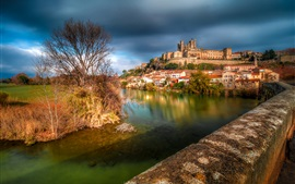 Preview wallpaper France, Cathedral of Saint-Nazaire, Beziers, river