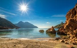 França, Córsega, costa, praia, mar, montanhas, sol
