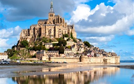Preview wallpaper France, Mont Saint Michel, castle, fortress, river