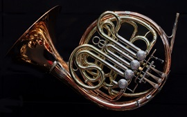 Preview wallpaper French horn, black background