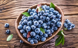 Fresh blueberries, basket, fruit photography