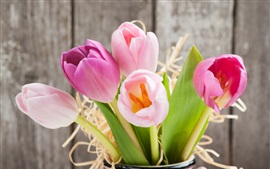Preview wallpaper Fresh tulips, pink flowers, vase