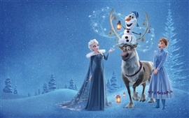 Frozen, Elsa, Anna, deer, snowman, Disney cartoon movie
