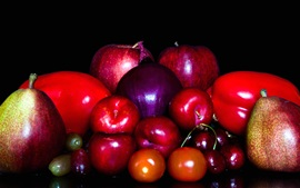 Preview wallpaper Fruit and vegetables, apple, tomato, cherry, pear, onion