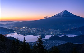 Preview wallpaper Fuji, mountain, Japan, city, river, dusk