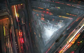Preview wallpaper Future city, abyss, roads, cars, train, flight, fantasy art drawing