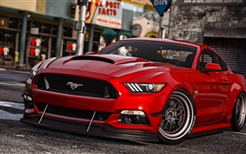 Preview wallpaper GTA 5, Ford Mustang red car