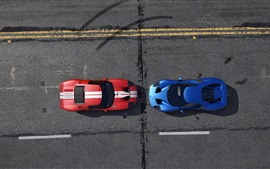 Preview wallpaper GTA 5, blue and red racing cars top view