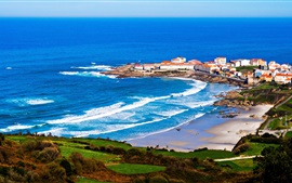 Galicia, Spain, cape, houses, sea, waves
