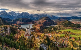 Germany, Bavaria, trees, Neuschwanstein Castle, town, mountains, clouds