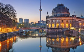 Preview wallpaper Germany, Berlin, Bode Museum, evening, river, lights