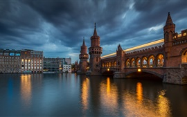 Preview wallpaper Germany, Berlin, Upper Tree Bridge, night, river, lights