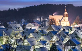Preview wallpaper Germany, Freudenberg, houses, roof, night, snow, winter