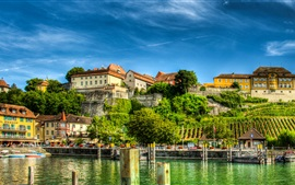 Preview wallpaper Germany, Meersburg, Lake Constance, houses, blue sky