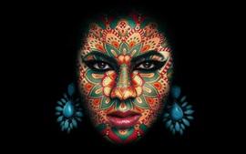 Cara de niña, maquillaje, tatuaje, fondo negro