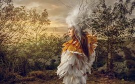 Preview wallpaper Girl, feather dress, art photography