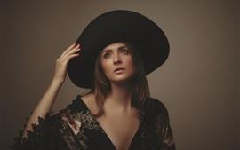 Menina, chapéu, mão