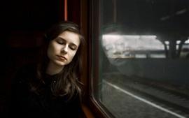 Girl in train, sleep