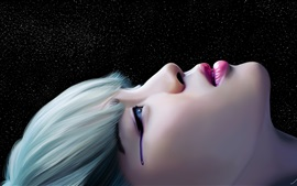 Lágrimas de niña, fantasía, fondo negro