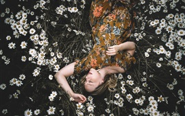 Preview wallpaper Girl sleep in chamomile flowers field