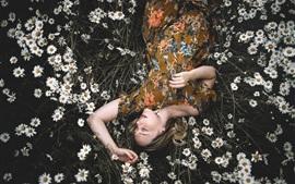 Aperçu fond d'écran Fille de dormir dans le champ de fleurs de camomille