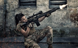 Preview wallpaper Girl use assault rifle, shooting