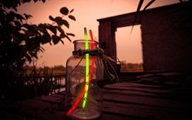 Preview wallpaper Glow stick, glass bottle, dusk