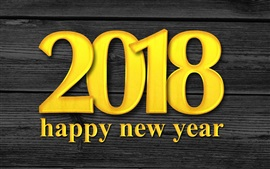 Golden color 2018, Happy New Year, wood background