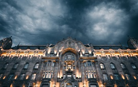 Grand Budapest Hotel, front view, lights, clouds, night