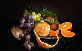 Preview wallpaper Grapes and oranges, fruit, black background