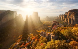 Preview wallpaper Greece, autumn, rocks, mountains, houses, trees, sun rays