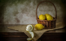 Preview wallpaper Green lemons, basket