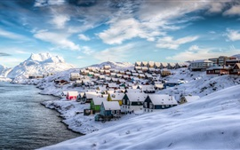 Greenland, Nuuk, Denmark, winter, houses, snow, beautiful